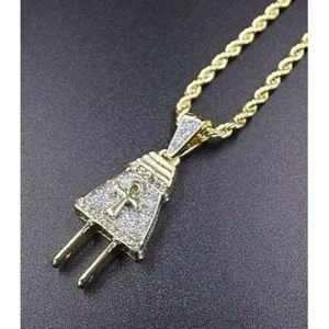 "Other - 14k Gold Ankh Electric Plug Pendant 24"" Rope Chain"